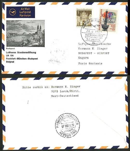 Germany Hungary 1967 Lufthansa LH194 First Flight Cover