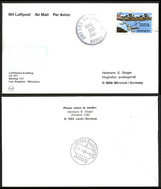 US Los Angeles Munich 1986 Lufthansa First Flight Cover