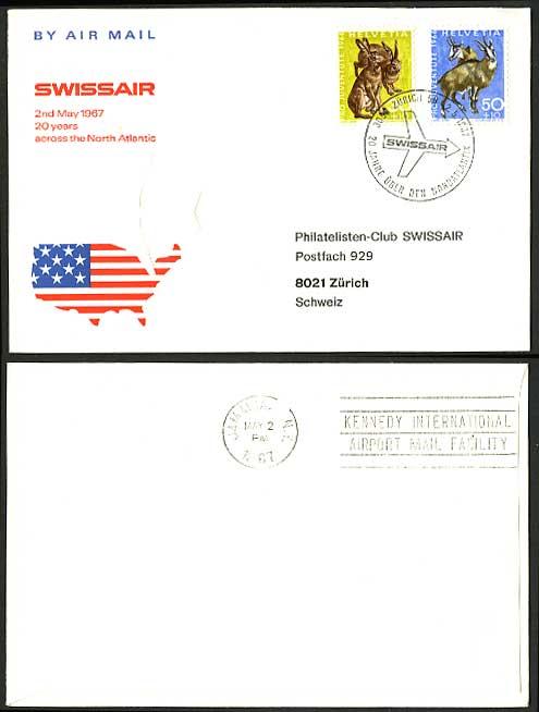 Geneve Zurich 1967 SWISSAIR North Atlantic Flight Cover
