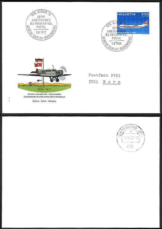 Swiss Geneve 1972 - 50th Anniversary First Flight Cover