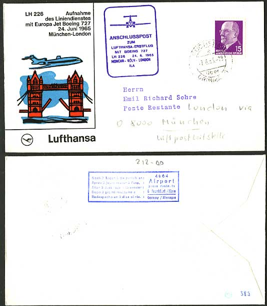 Munich London 1965 LUFTHANSA LH 226 First Flight Cover