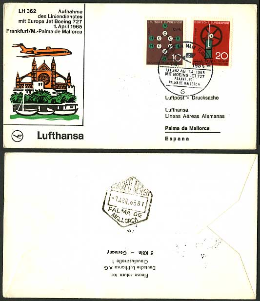 Frankfurt aM Mallorca 1965 LUFTHANSA First Flight Cover