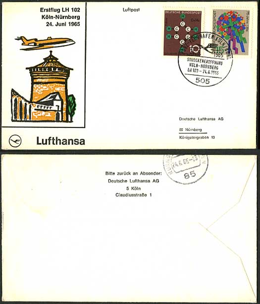 Cologne Nuremberg 1965 LUFTHANSA 102 First Flight Cover