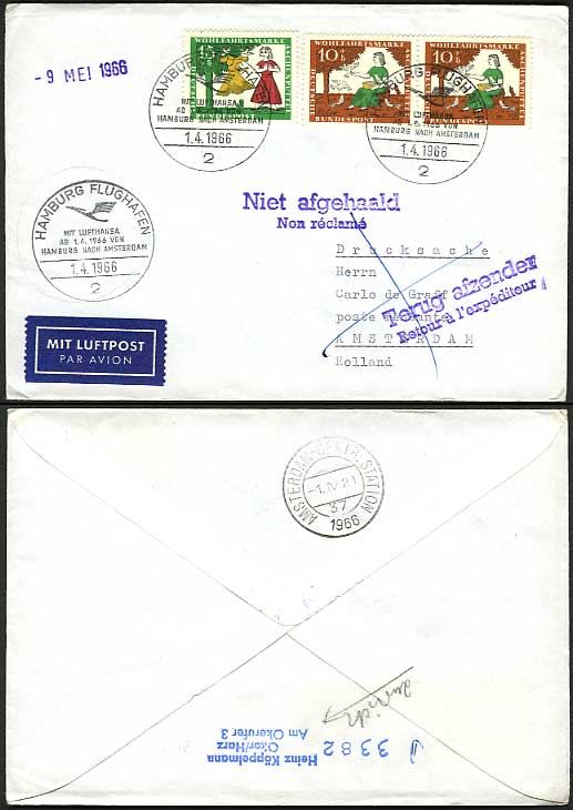 Hamburg - Amsterdam 1966 Lufthansa Airmail Flight Cover