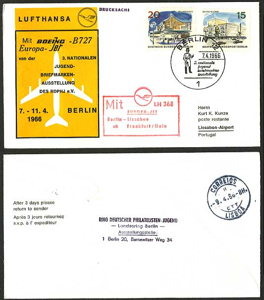 Berlin Lisbon 1966 Lufthansa LH 368 First Flight Cover