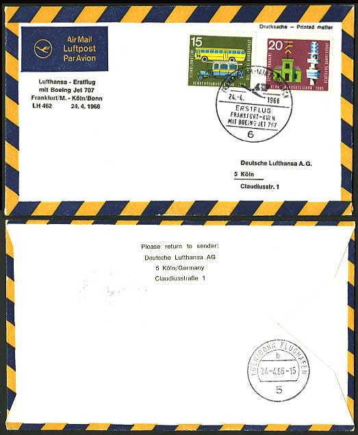 Frankfurt Cologne 1966 Lufthansa 462 First Flight Cover