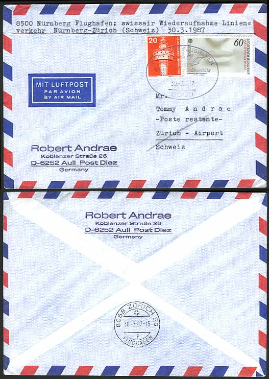 Nuremberg Zurich Swiss 1987 SWISSAIR First Flight Cover
