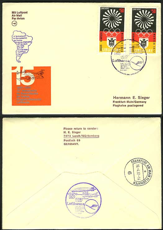 Uruguay - Frankfurt 1972 Lufthansa Flight Cover OLYMPIC