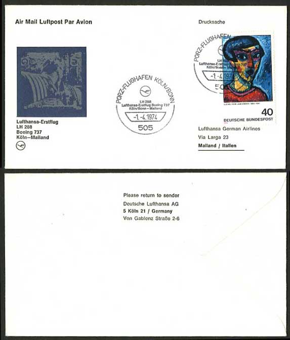 Cologne Mailand Italy 1974 Lufthansa First Flight Cover