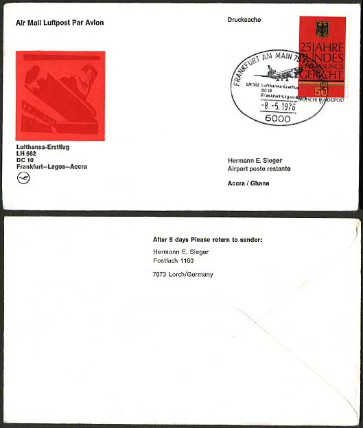 Frankfurt ACCRA GHANA 1976 Lufthansa First Flight Cover