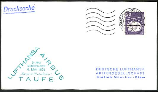 Munich Riem, HELICOPTER 30pf stamp on 1976 LUFTHANSA Airbus Flight Cover Airmail