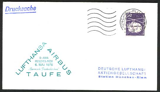 Munich HELICOPTER 1976 LUFTHANSA Airbus Flight Cover Airbus Taufe D-AIAA Airmail