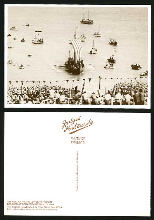 Broadstairs Kent Postcard Replica Viking Longship HUGIN Shipping Boats July 1949