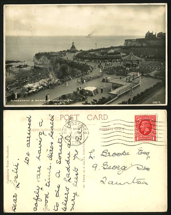 BROADSTAIRS 1936 Old RP Postcard Bandstand Garden Beach