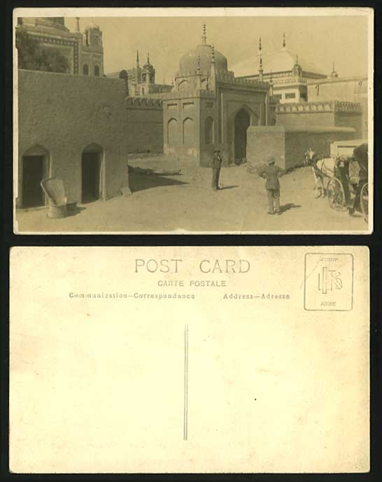 India Old RP Real Photo Postcard Palace Horse Carriage