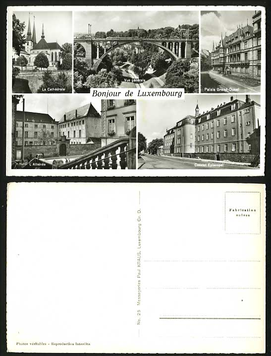 Luxembourg Old Multiview Postcard Convict Episcopal etc