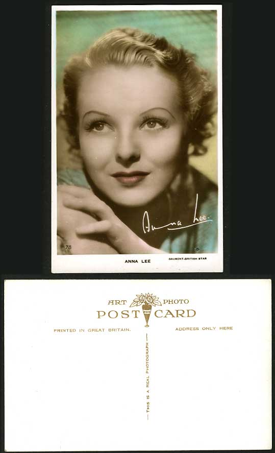 Actress ANNE LEE Signed Old Colour Real Photo Postcard