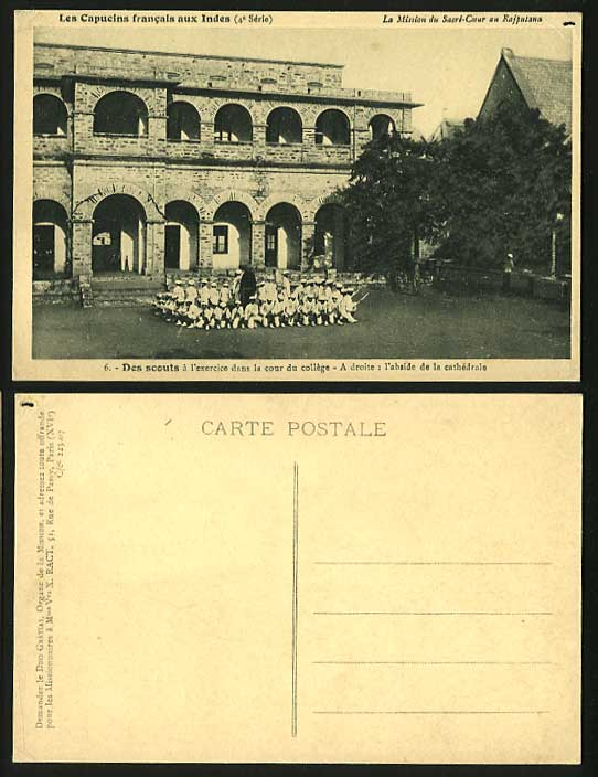 BOY SCOUTS SCOUTING Old Postcard College Ct. Cathedral
