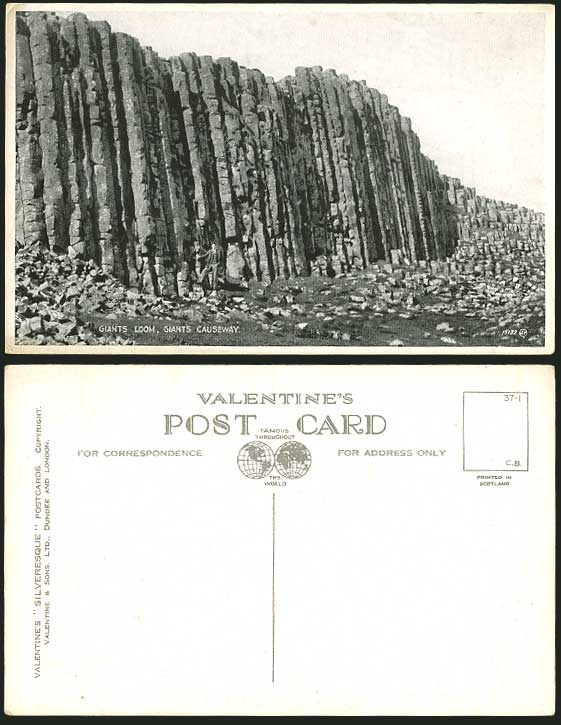 North Ireland Old Postcard Giants Loom Giant's Causeway