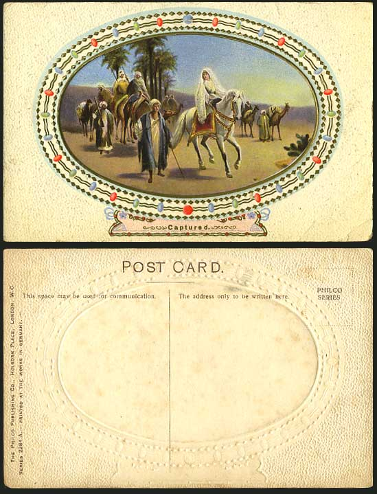 CAPTURED Girl, Woman on White Horse Camels Old Postcard