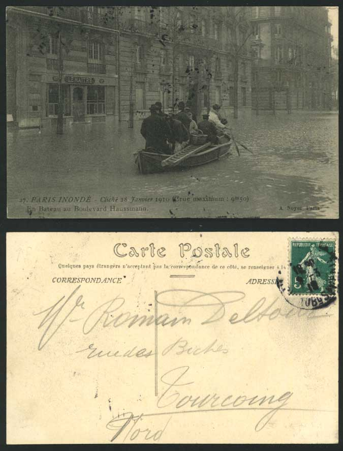 PARIS FLOOD 1910 Postcard Old Boulevard Haussmann, Boat
