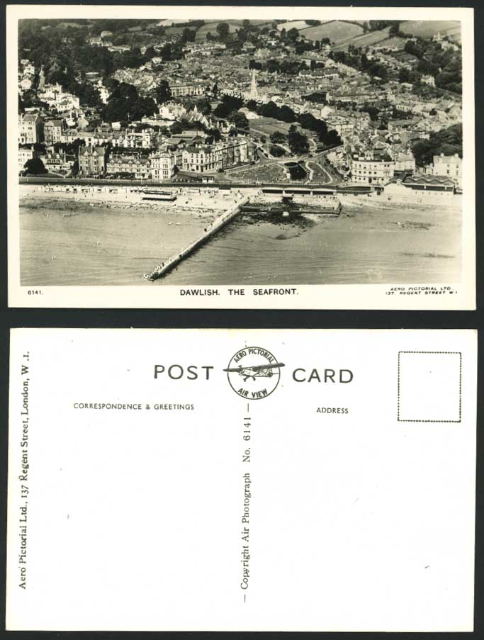 DAWLISH Seafront Pier Beach Aerial View Old RP Postcard