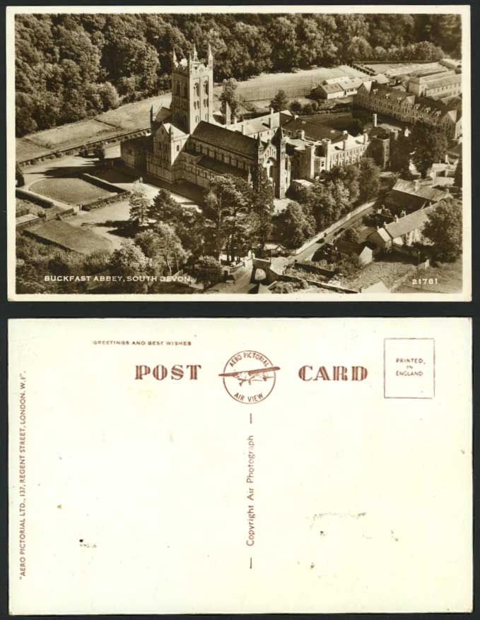 BUCKFAST ABBEY, Aerial View Old RP Postcard South Devon