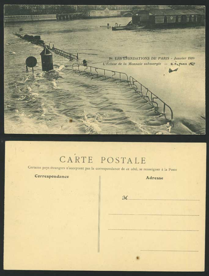 PARIS FLOOD 1910 Postcard l'Ecluse de Monnaie Submergee