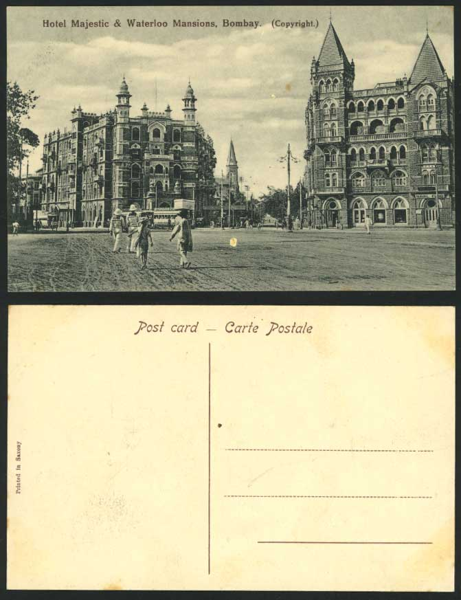 Bombay, Hotel Majestic & Waterloo Mansions Old Postcard