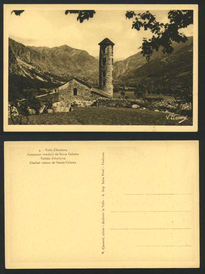 Andorra Old Postcard Bell Tower Clocher Roman Santa St Coloma Chapel Church