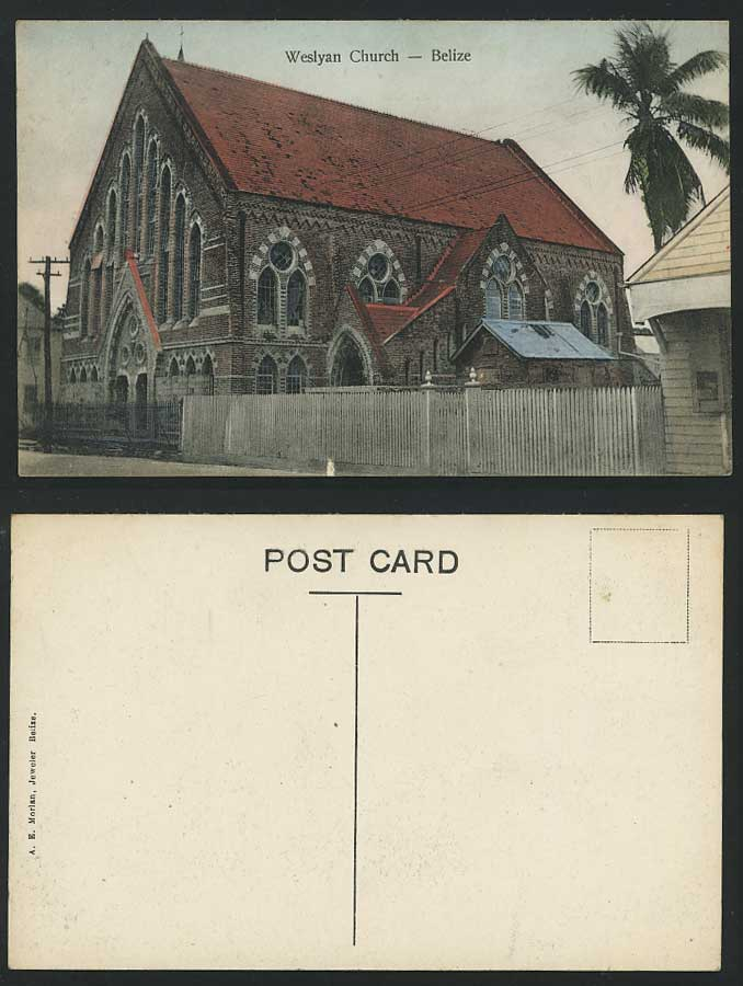 BELIZE British Honduras THE WESLYAN CHURCH Palms Old Hand Tinted Colour Postcard