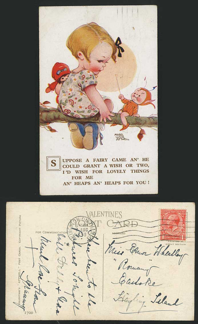 MABEL LUCIE ATTWELL 1930 Old Postcard Little Girl Doll