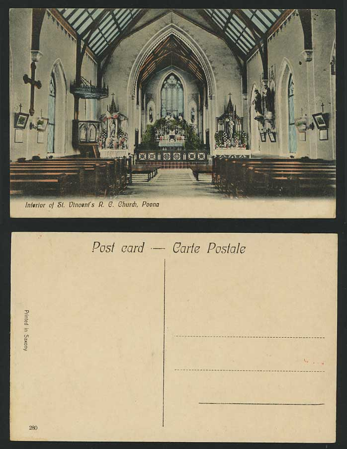 India Old Tinted Postcard St. Vincent's RC Church POONA