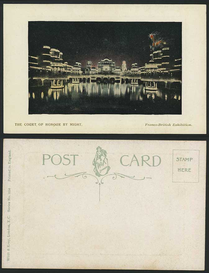 Franco British Exhibition Ct. of Honour, Night Postcard
