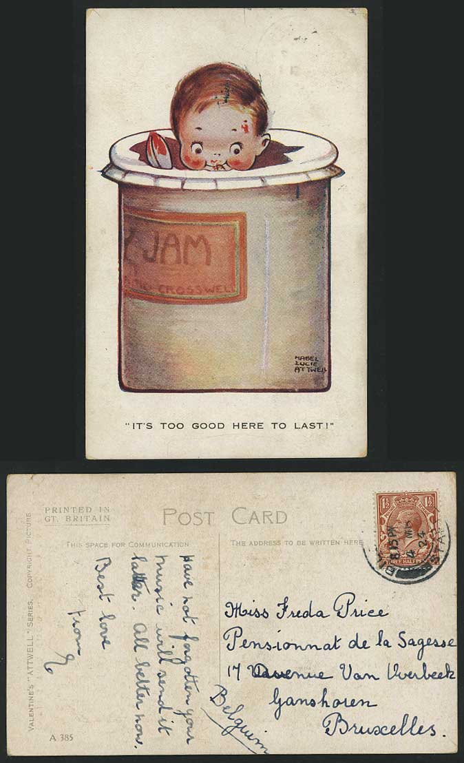 MABEL LUCIE ATTWELL 1924 Old Postcard JAM Too Good A385