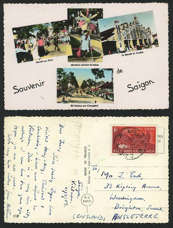 SAIGON 1959 Postcard Flower Market Tandinh Street Scene