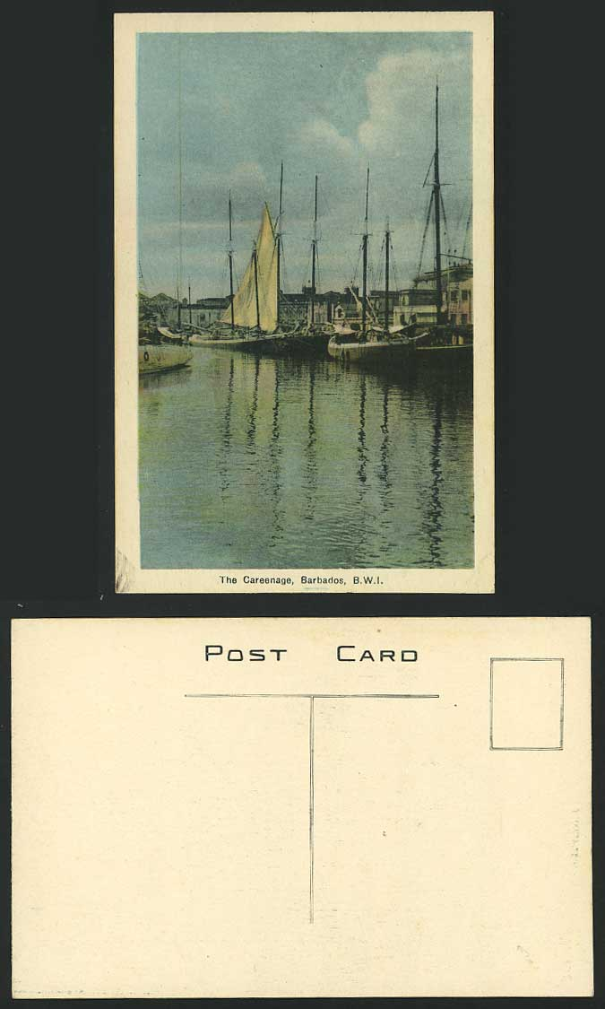 Barbados Old Postcard The Careenage Harbour B.W.I Boats