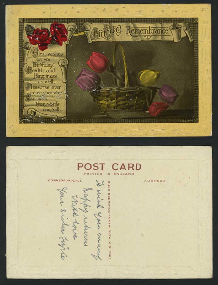 Birthday Remembrance Old Postcard Roses Tulips Flowers