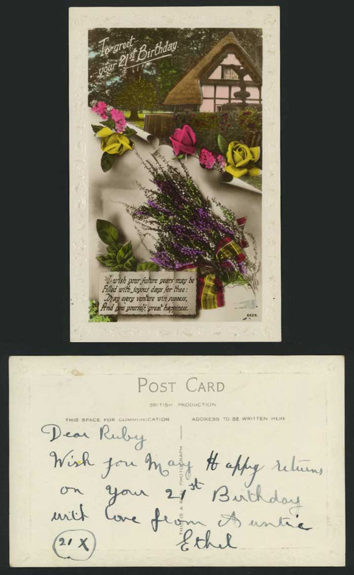Greet 21st Birthday Old Postcard Roses Thatched Cottage