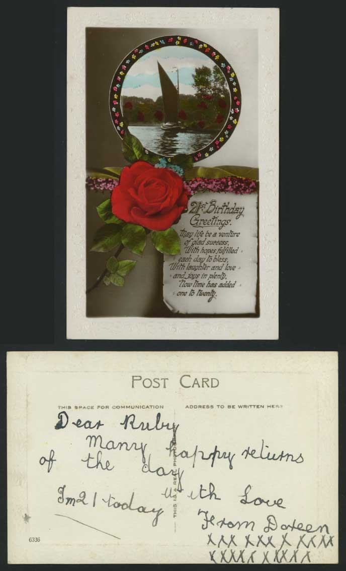 21st Birthday Greetings Old Postcard Sailing Boat, Rose