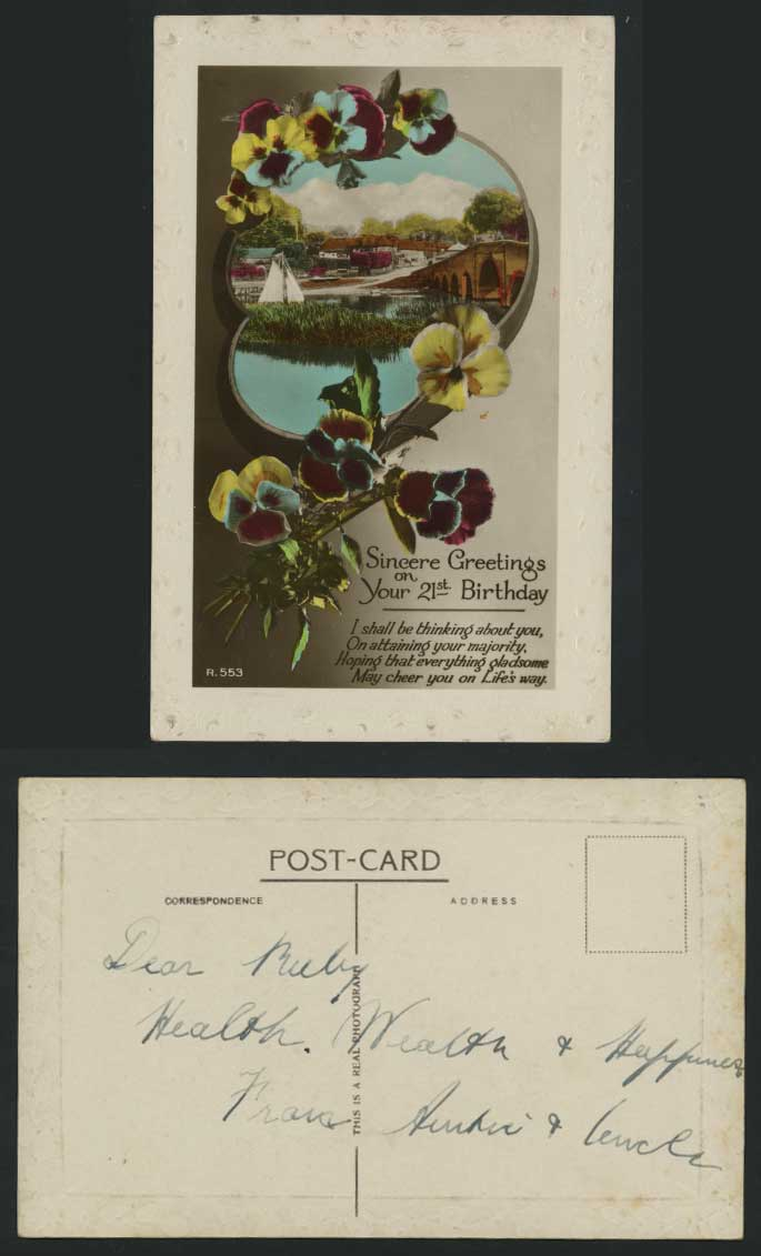 Greetings 21st Birthday Old Postcard Bridge Boat Pansy