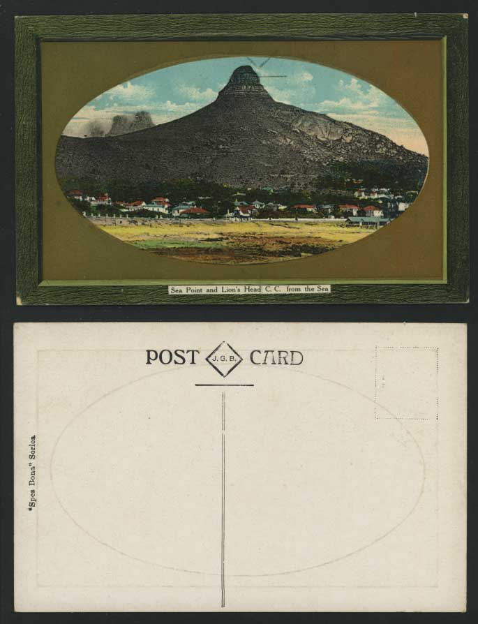 South Africa Old Postcard Sea Point Lions Head from Sea