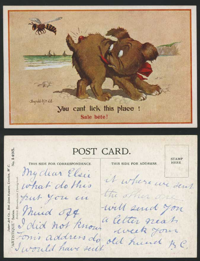 Dog Stung by Wasp http://www.stamps-auction.com/donald-mcgill-old-postcard-a-wasp-bee-stung-dog-s-tail-for-sale-106414