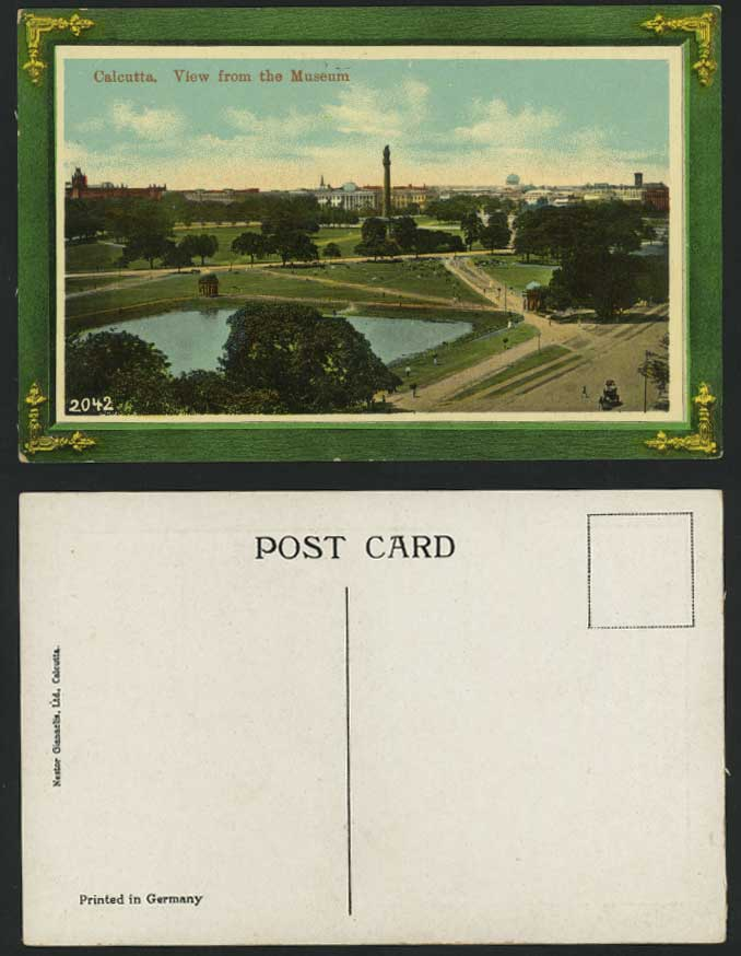 India Old Postcard Calcutta Park Lake, View from MUSEUM
