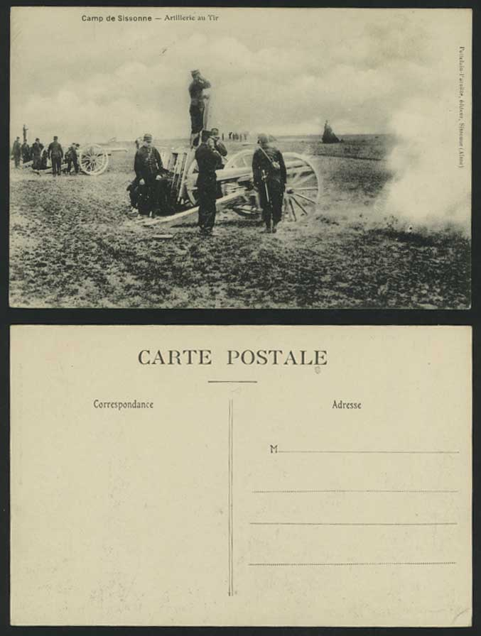 CAMP de SISSONNE Artillerie au Tir Soldier Old Postcard
