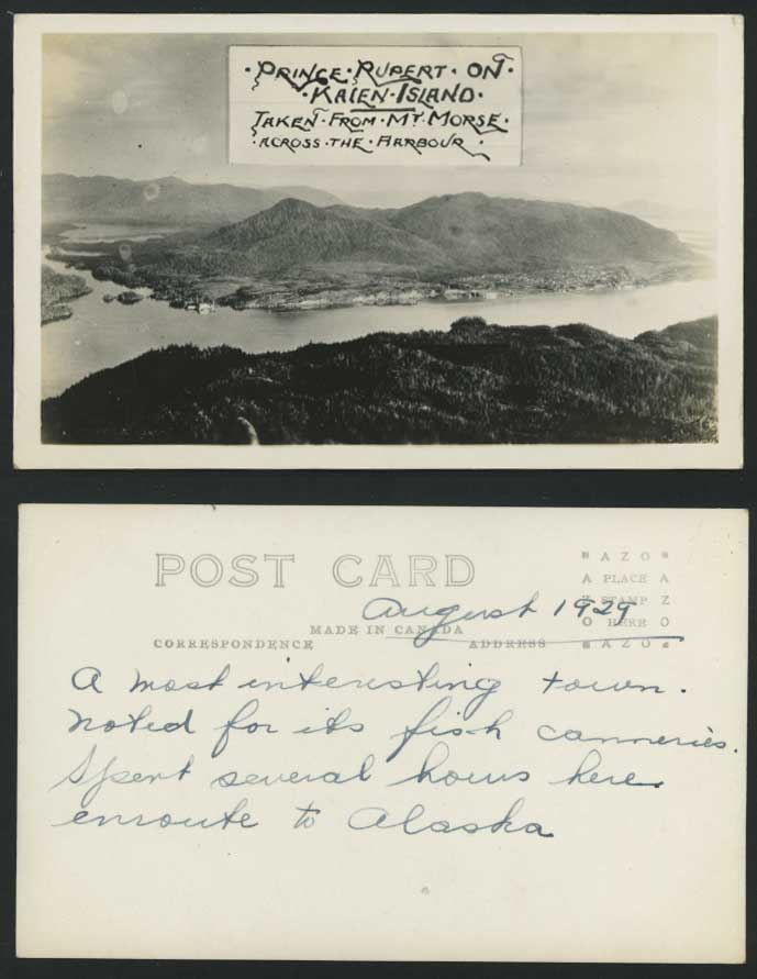 Canada Prince Rupert, Kaien Is. Harbour Mt. Morse B.C. Old Real Photo Postcard