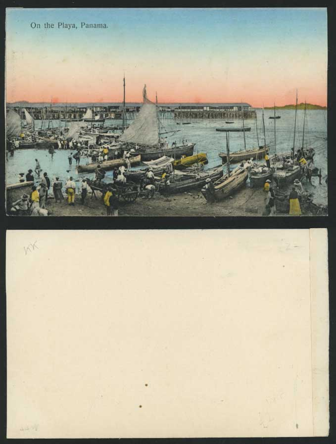 PANAMA Old Hand Tinted Postcard On The Playa Pier Boats
