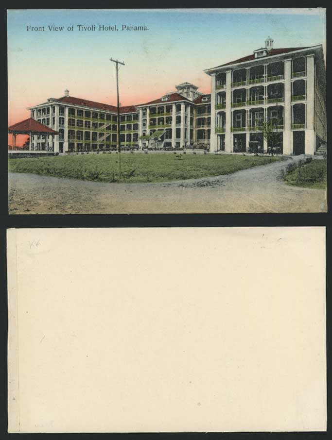 PANAMA Old Hand Tinted Postcard Front View TIVOLI HOTEL