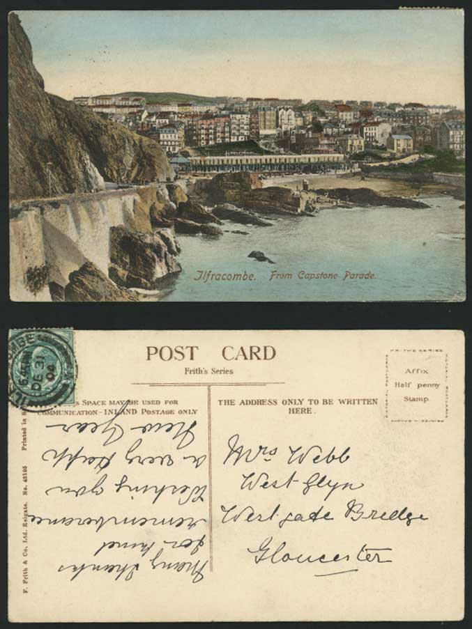 Devon Ilfracombe 1904 Old Postcard From Capstone Parade