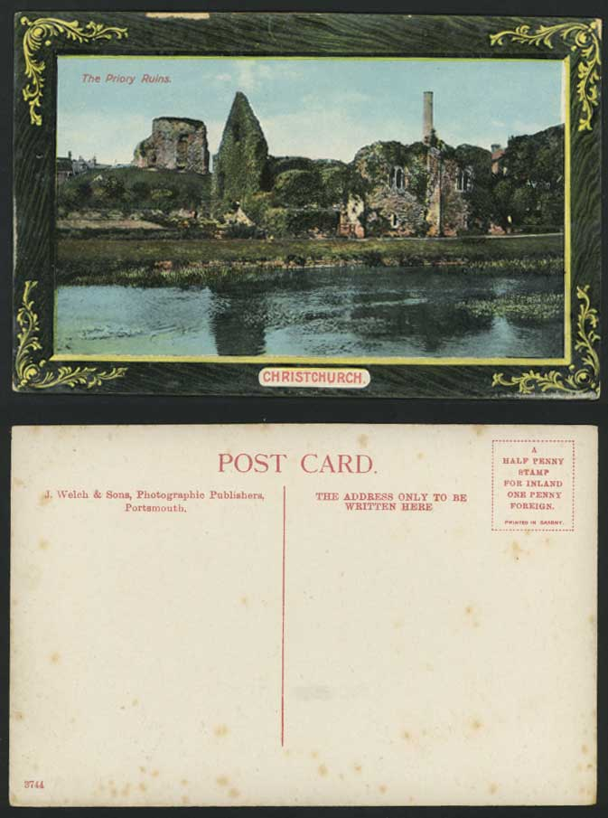 Christchurch Old Postcard The Priory Church Ruins River
